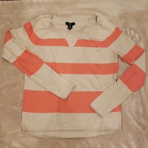 Gap Sweater Coral Striped slightly high low crew